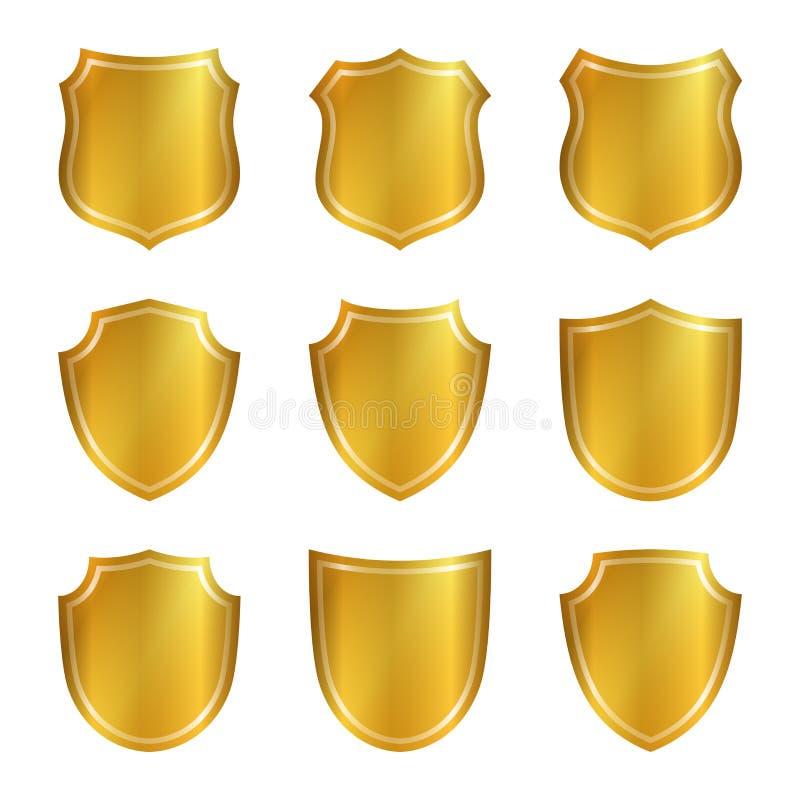 Osłona kształta złociste ikony ustawiający emblemat ilustracja wektor