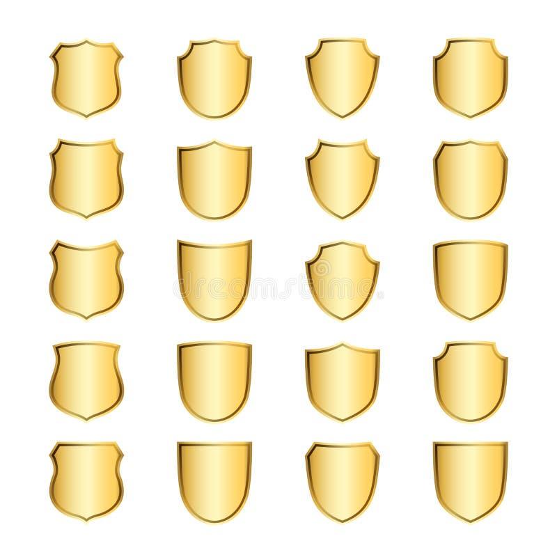 Osłona kształta złociste ikony ustawiający emblemat royalty ilustracja
