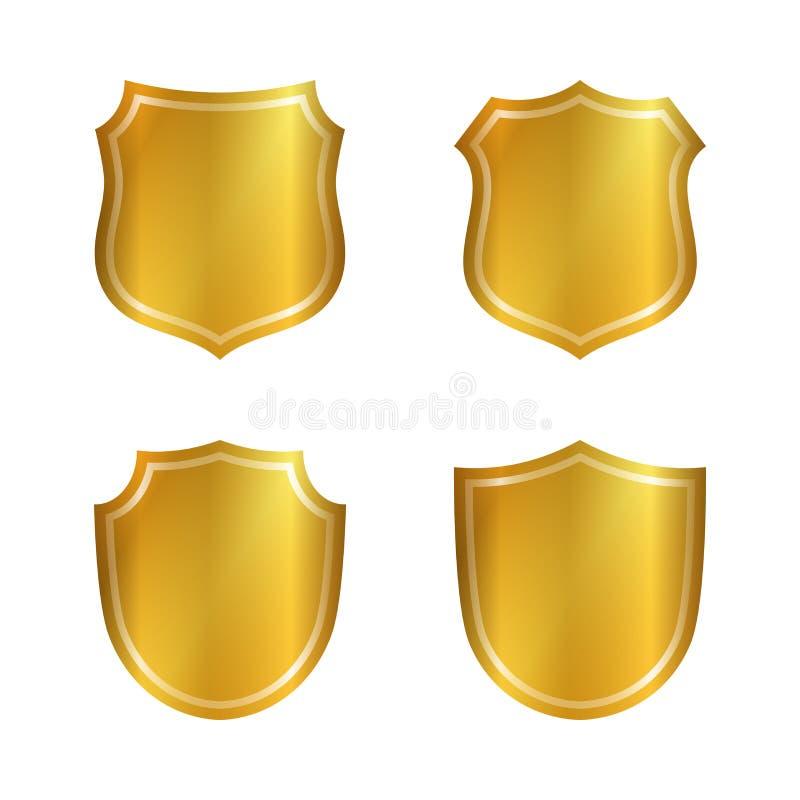 Osłona kształta złociste ikony ustawiający emblemat ilustracji