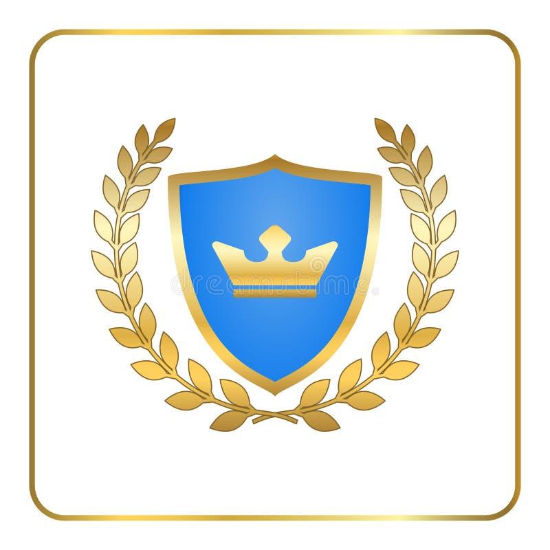 Osłona wianku ikony korony złocisty laurowy biel ilustracja wektor