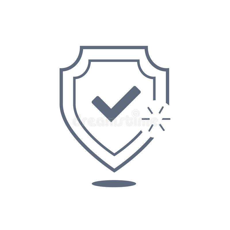 Osłona z czek oceny ikony cienką linią dla sieci i wiszącej ozdoby, nowożytny minimalistic płaski projekt Wektorowego zmroku popi royalty ilustracja