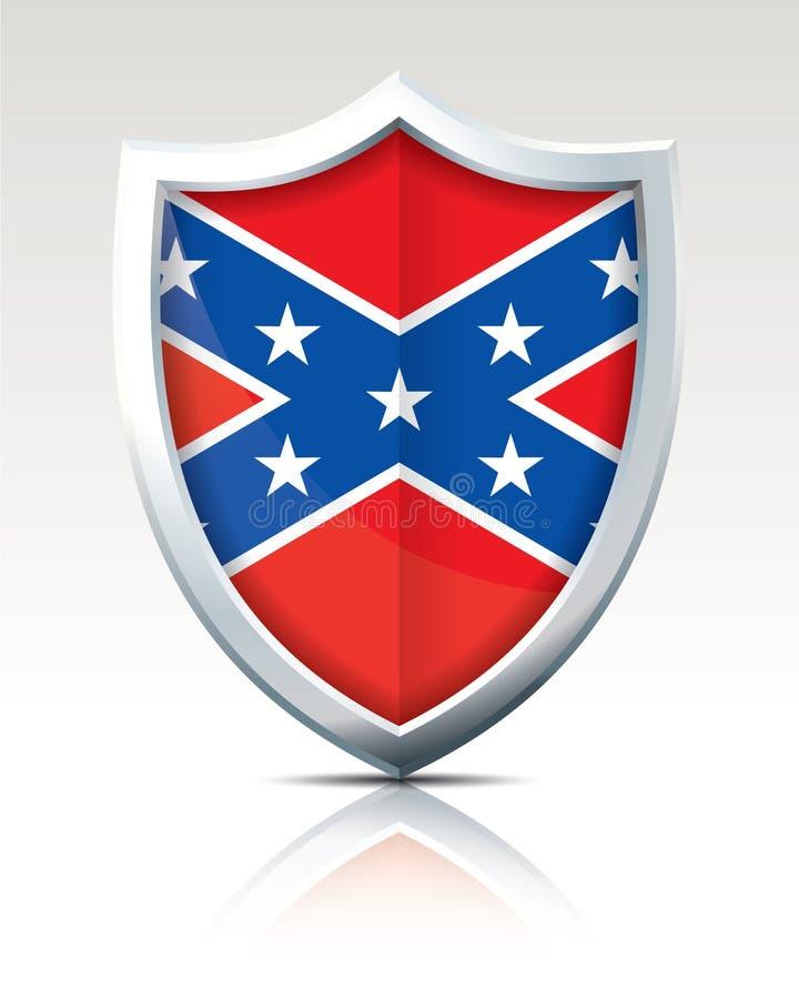 Osłona z flaga konfederat royalty ilustracja