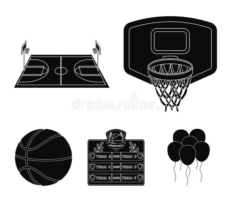 Osłona z koszem, boisko, stół rozkazy, koszykówki piłka Koszykówek ustalone inkasowe ikony w czerni royalty ilustracja