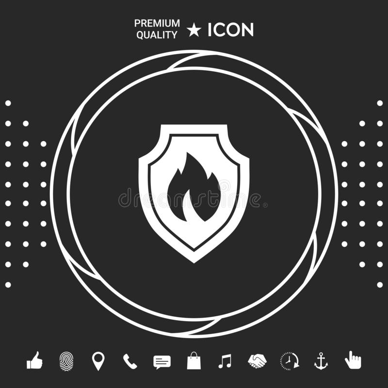 Osłona z ogienia znakiem - ochrony ikona Graficzni elementy dla twój designt ilustracji