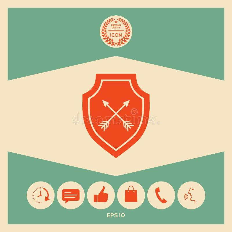 Osłona z strzała Ochrony ikona ilustracji
