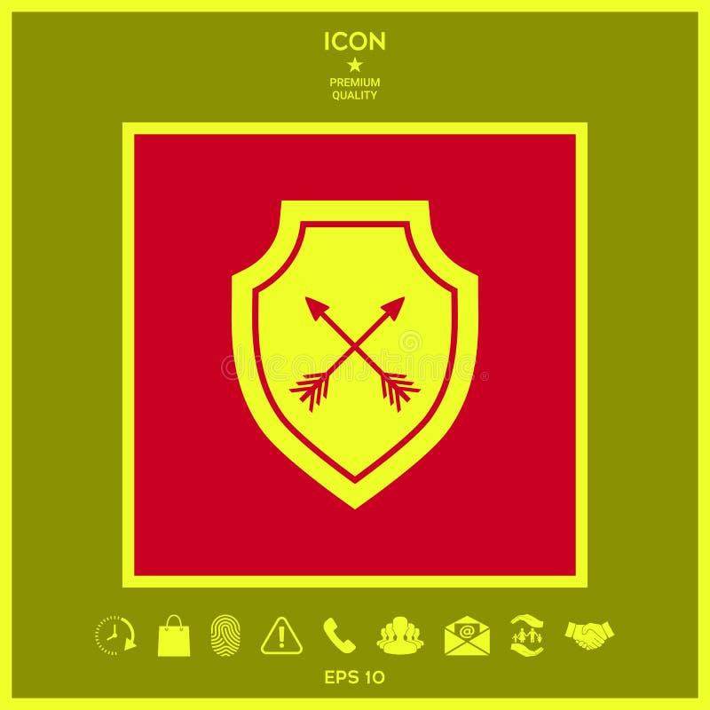 Osłona z strzała Ochrony ikona royalty ilustracja