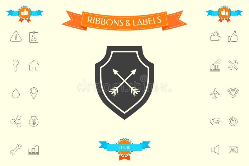 Osłona z strzała Ochrony ikona ilustracja wektor
