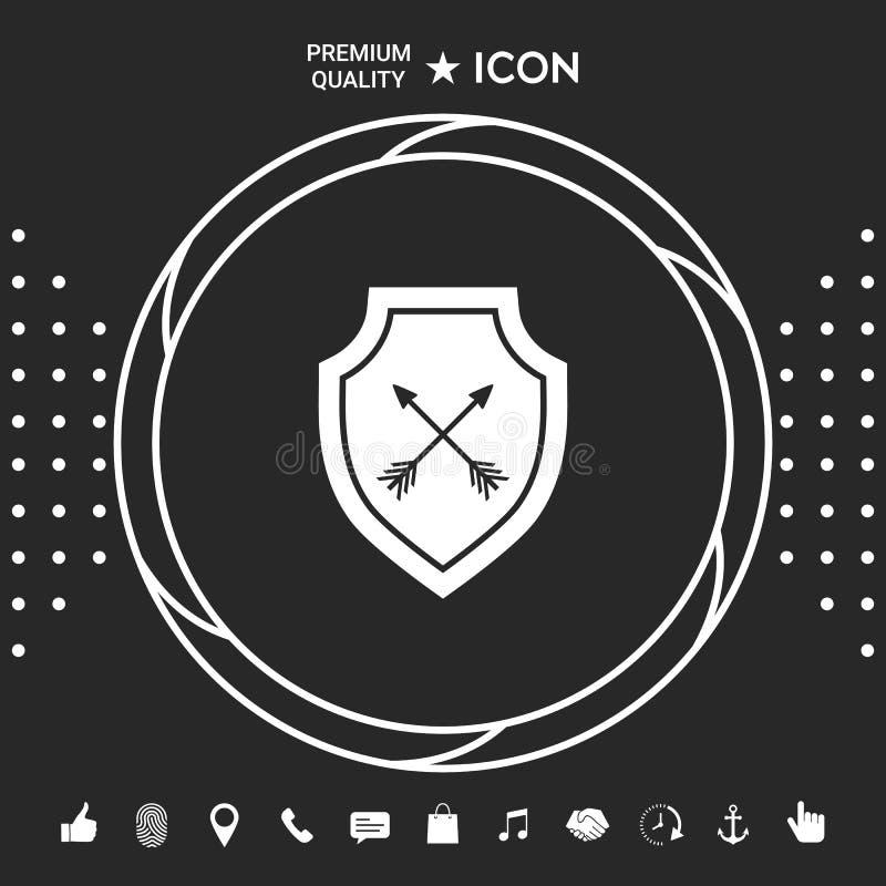 Osłona z strzała Ochrony ikona Graficzni elementy dla twój designt ilustracja wektor