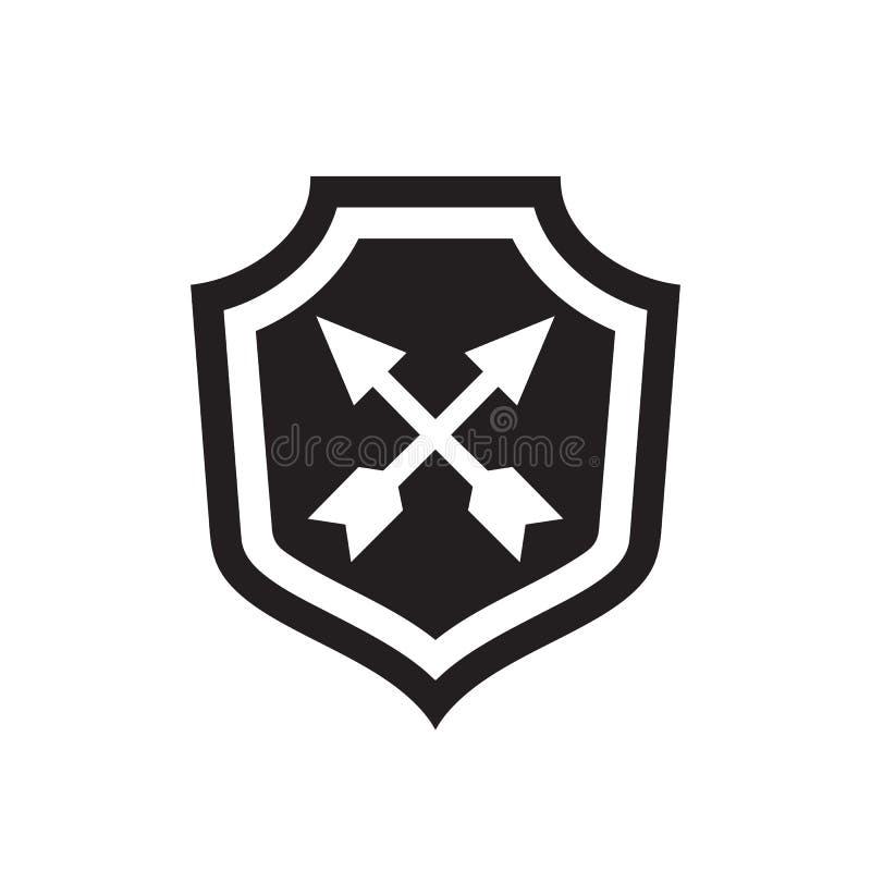 Osłona z strzałami - czarna ikona na białej tło wektoru ilustracji Wirusowy ochrony pojęcia znak dla sieci lub smartphone royalty ilustracja