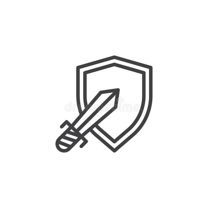 Osłony i kordzika konturu ikona royalty ilustracja
