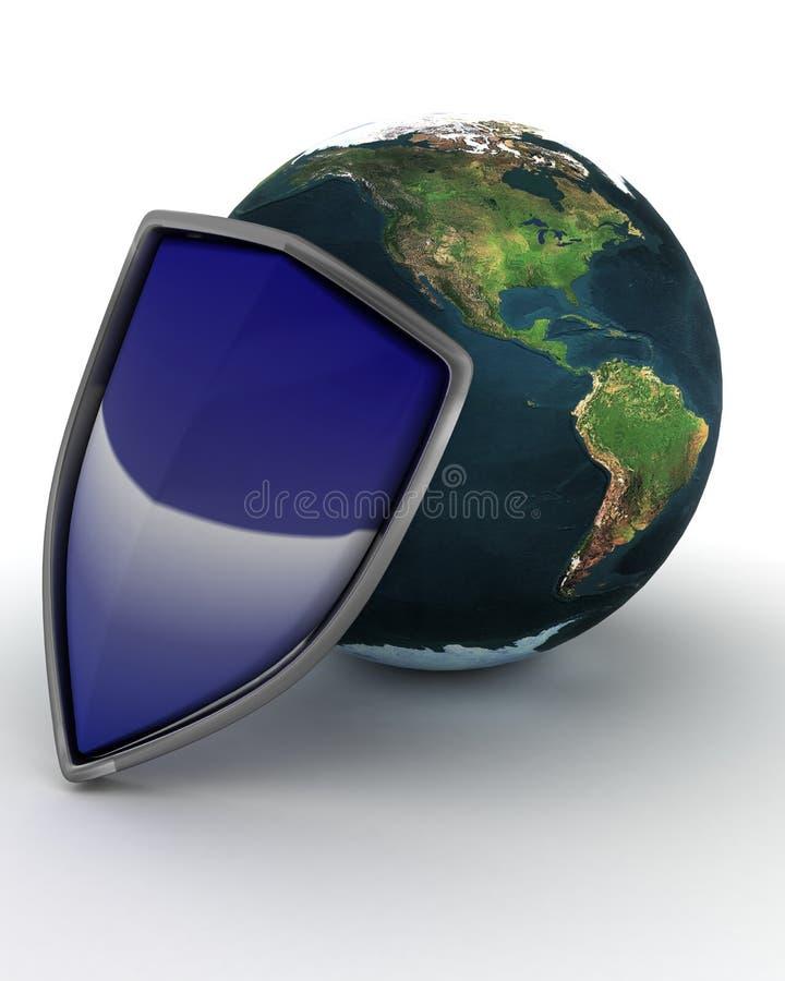 Osłony i kuli ziemskiej interneta ochrona royalty ilustracja