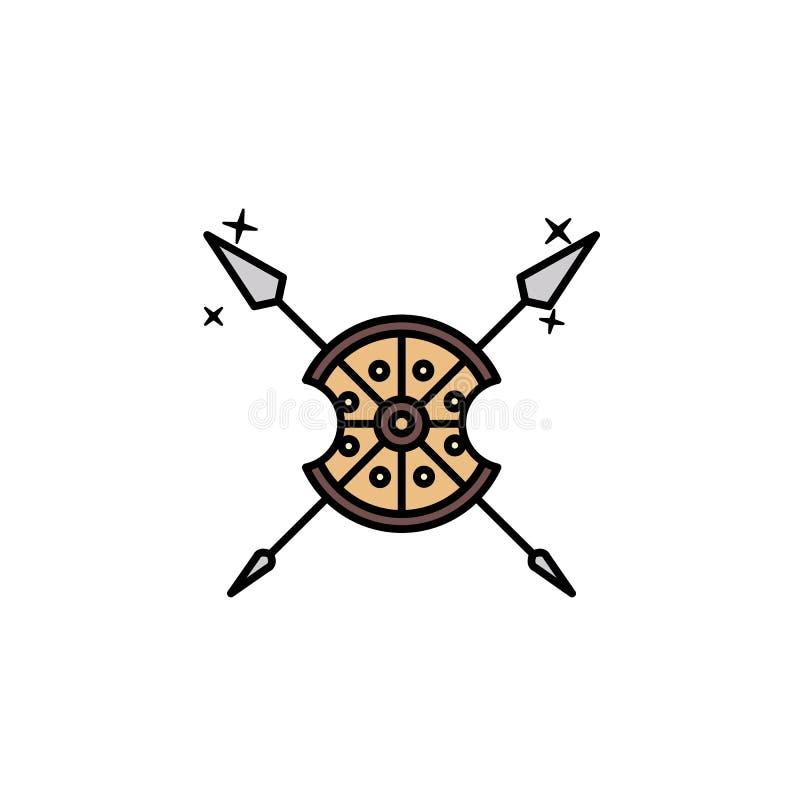 Osłony ikona Element koloru antycznego Greece ikona dla mobilnych pojęcia i sieci apps Barwiona osłony ikona może używać dla siec ilustracja wektor