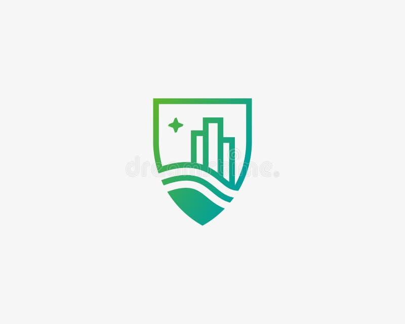 Osłony miasta domu logotyp Premii nieruchomości logo ilustracja wektor