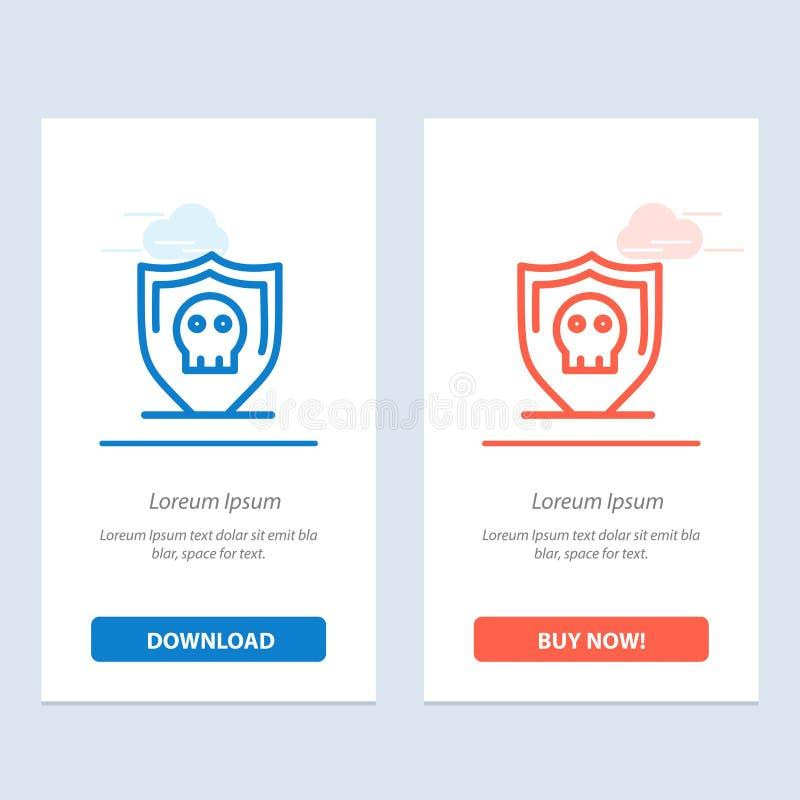 Osłony, ochrony, Bezpiecznie, Prostego sieci Widget karty szablon, Błękitnej i Czerwonej ściągania i zakupu Teraz ilustracji