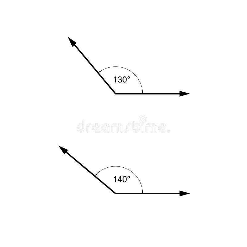 Os ângulos nos graus, matemática da geometria assinam símbolos ilustração stock