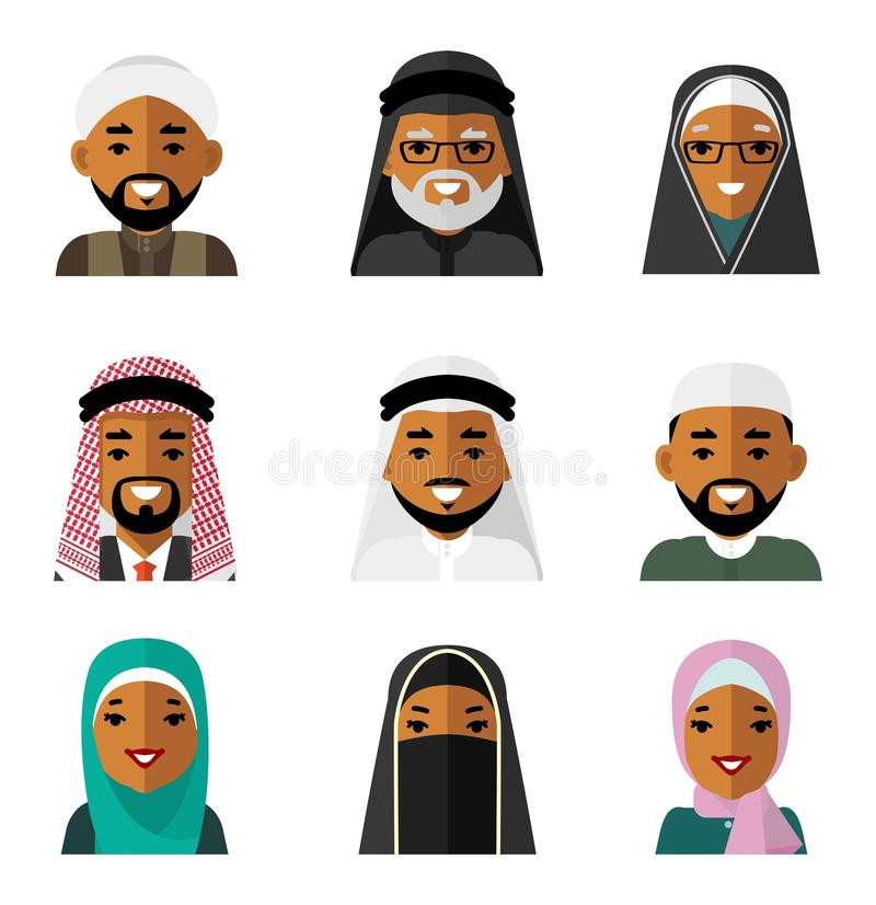 Os ícones árabes muçulmanos dos avatars dos caráteres dos povos ajustaram-se no estilo liso isolado no fundo branco ilustração do vetor