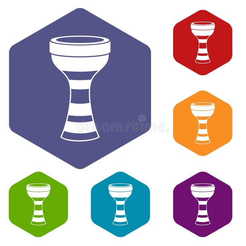 Os ícones africanos do cilindro ajustaram o hexágono ilustração royalty free