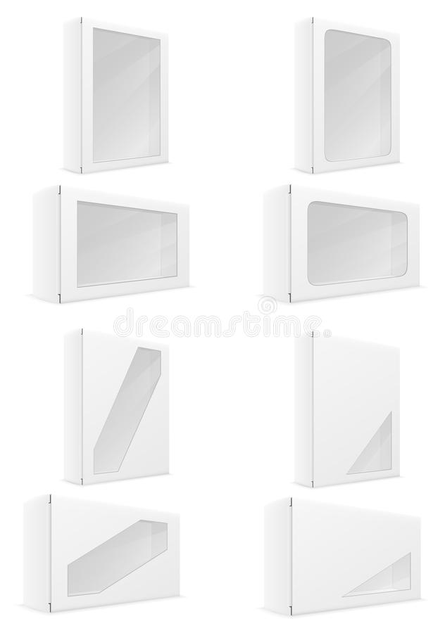 Os ícones ajustados da embalagem da caixa da caixa do Livro Branco vector a ilustração ilustração do vetor