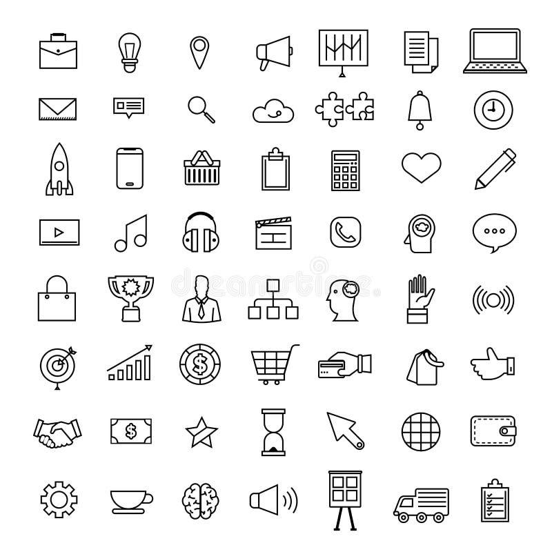 Os ícones ajustados do vetor diluem a linha negócio do conceito e conte da tecnologia ilustração royalty free