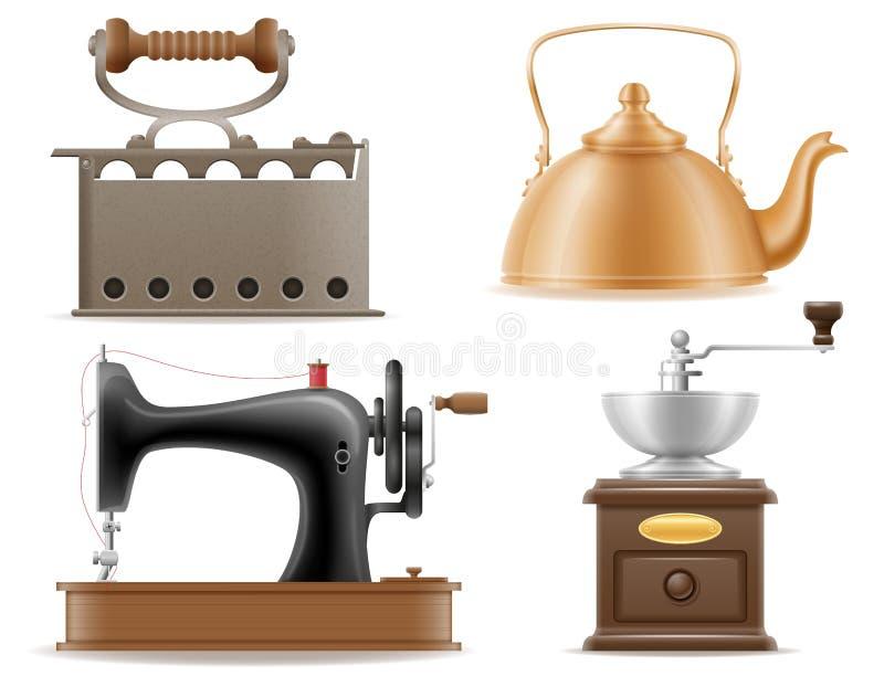 Os ícones ajustados do vintage retro velho dos dispositivos domésticos armazenam o mal do vetor ilustração royalty free
