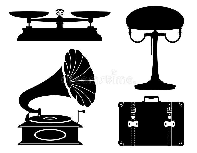 Os ícones ajustados do vintage retro velho dos dispositivos domésticos armazenam o mal do vetor ilustração stock