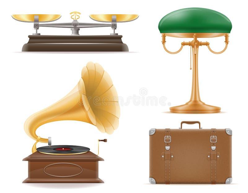 Os ícones ajustados do vintage retro velho dos dispositivos domésticos armazenam o vetor ilustração royalty free