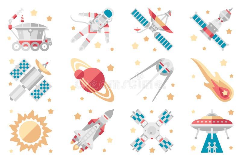 Os ícones ajustados, vaivém espacial do espaço, nave espacial, satélite orbital, foguete cósmico, estragam o vagabundo, estação e ilustração do vetor