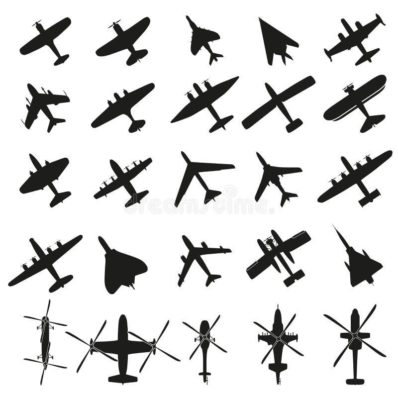 Os ícones ajustaram aviões ilustração royalty free