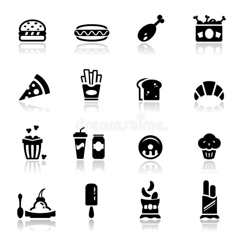 Os ícones ajustaram a comida lixo ilustração royalty free