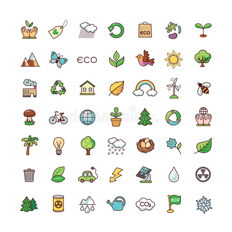 Os ícones ajustaram a ecologia ilustração stock