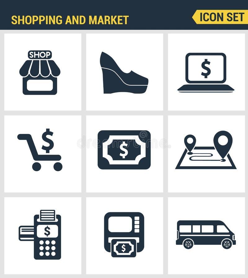 Os ícones ajustaram a qualidade superior do símbolo da compra, os elementos da loja e os artigos do comércio, os objetos do merca ilustração royalty free