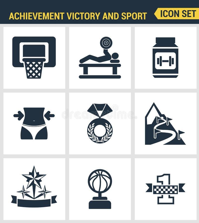 Os ícones ajustaram a qualidade superior lugar do campeão ajustado do ícone do esporte da vitória do achiement do primeiro Estilo ilustração stock