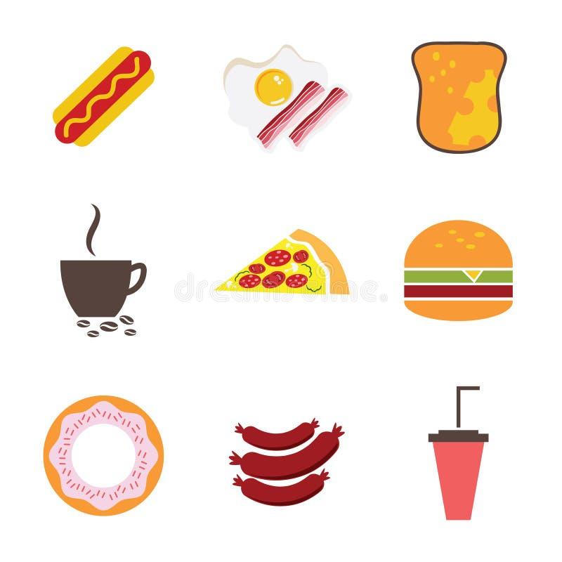 Os ícones ajustaram-se para o menu, o café e o restaurante Projeto liso v ilustração do vetor