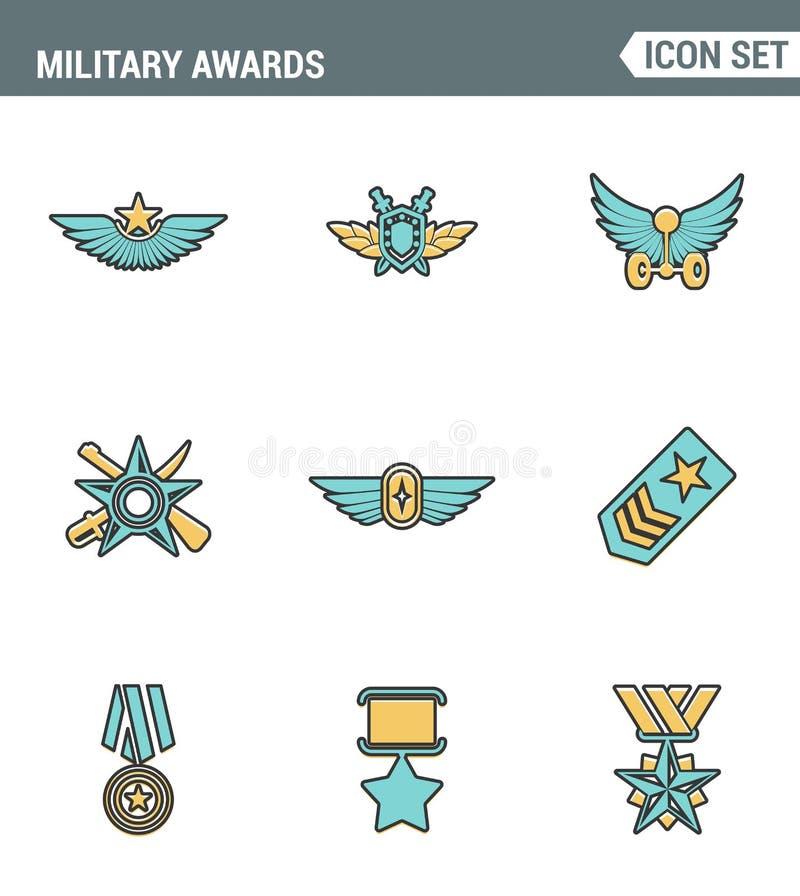 Os ícones alinham o victorysymbol militar do prêmio do vencedor de medalha da estrela das concessões da qualidade superior ajusta ilustração do vetor
