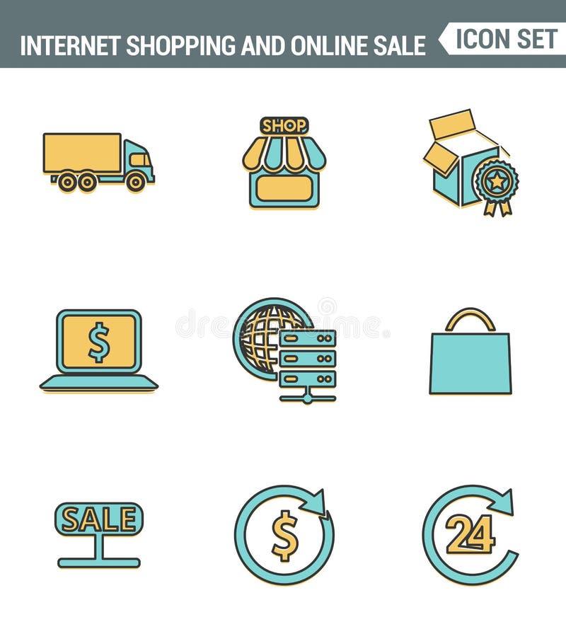 Os ícones alinham qualidade superior ajustada da compra do Internet, da loja e de vendas em linha Estilo liso do projeto da coleç ilustração stock