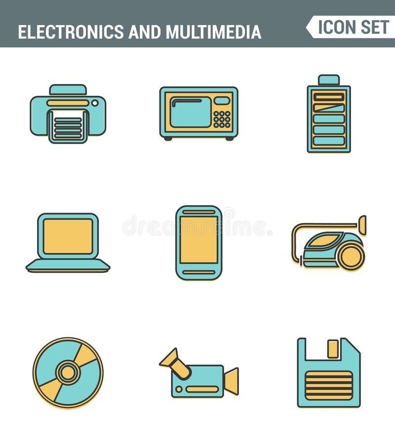 Os ícones alinham qualidade superior ajustada da electrónica do lar e de dispositivos pessoais dos multimédios Estilo liso do pro ilustração stock