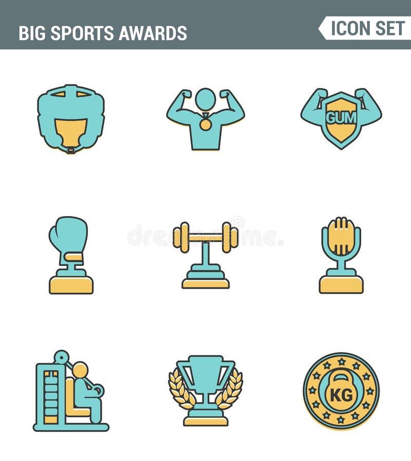 Os ícones alinham qualidade superior ajustada da vitória grande do esporte do copo do vencedor do campeão do campeonato das conce ilustração stock