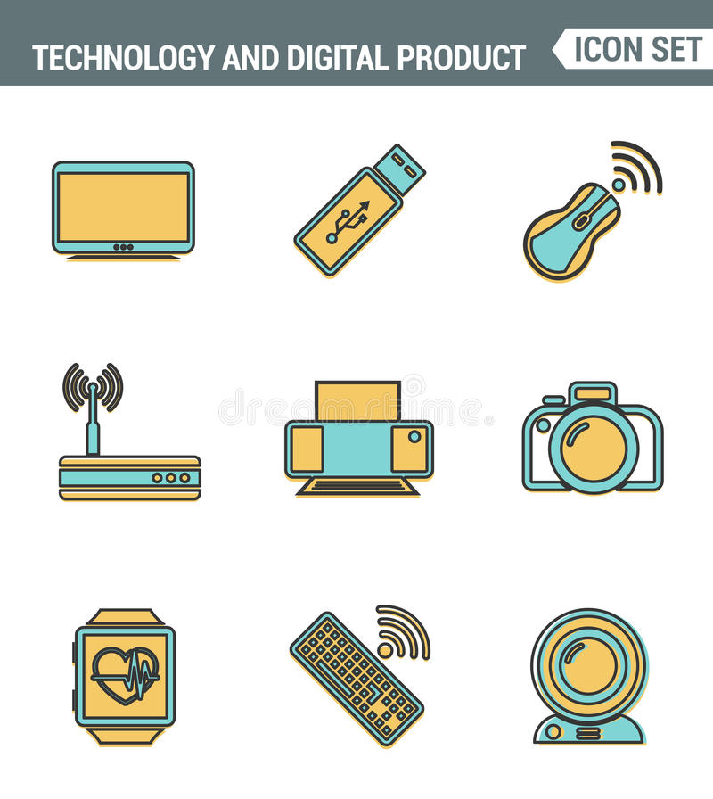 Os ícones alinham qualidade superior ajustada de dispositivos da informática e da eletrônica, produto digital de uma comunicação  ilustração stock