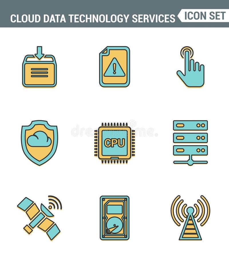 Os ícones alinham qualidade superior ajustada de serviços da tecnologia dos dados da nuvem, conexão global Estilo liso do projeto ilustração stock
