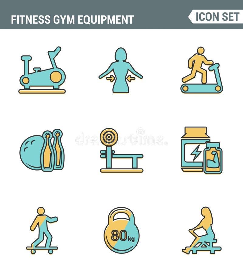 Os ícones alinham qualidade superior ajustada do equipamento do gym da aptidão, atividade da recreação dos esportes Projeto liso  ilustração do vetor