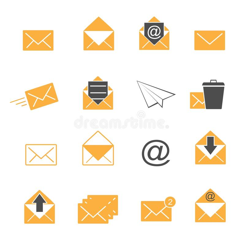 Os ícones amarelos do envelope e do correio da cor ajustaram o vetor ilustração do vetor