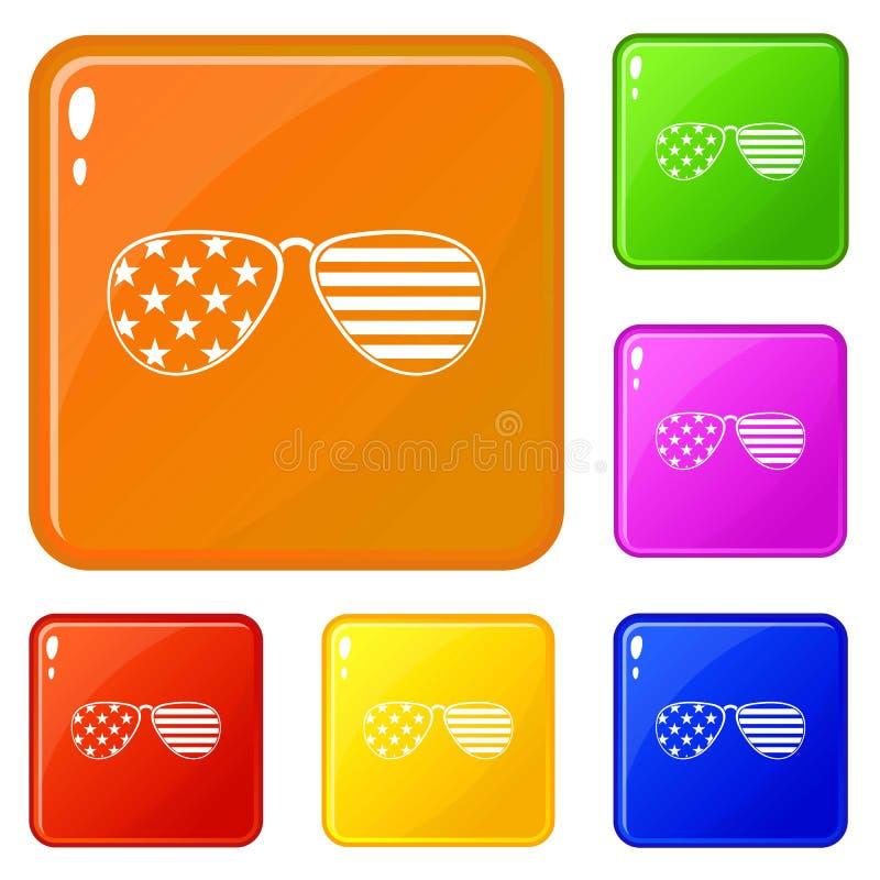 Os ícones americanos dos vidros ajustaram a cor do vetor ilustração stock