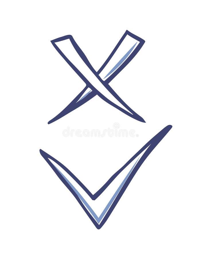 Os ícones aprovados e rejeitados do vetor dos sinais isolaram-se ilustração royalty free