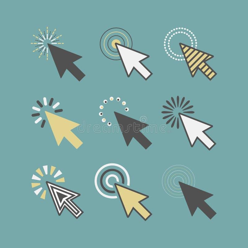 Os ícones ativos funky abstratos dos ponteiros do cursor do clique ajustaram-se na cerceta ilustração do vetor