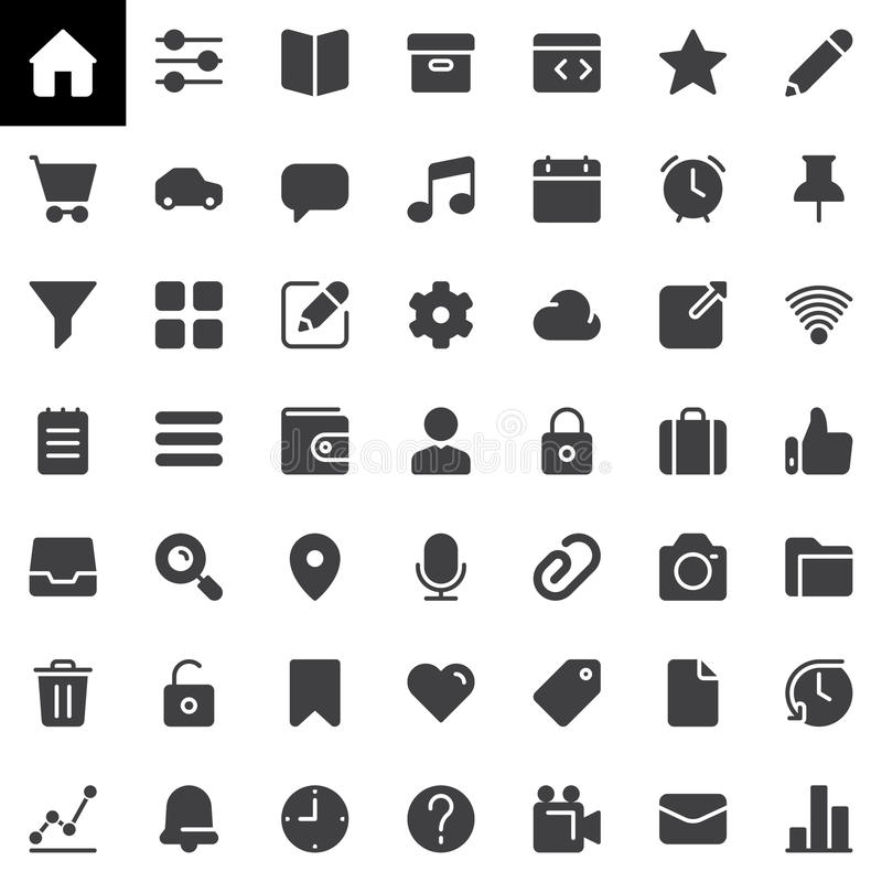 Os ícones básicos do vetor de UI ajustaram-se, coleção contínua moderna do símbolo ilustração royalty free