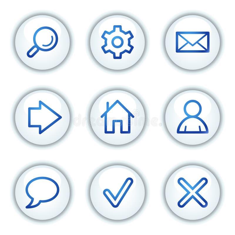 Os ícones básicos do Web, o círculo branco abotoam a série ilustração royalty free