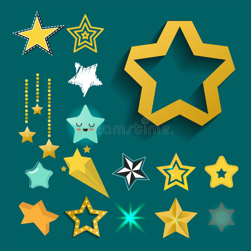 Os ícones brilhantes da estrela no projeto pentagonal aguçado do sumário da concessão do ouro do estilo diferente rabiscam o veto ilustração do vetor