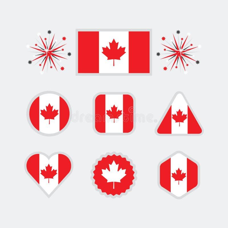 Os ícones canadenses da bandeira nacional ajustaram-se no fundo cinzento moderno ilustração royalty free