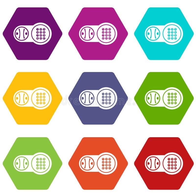 Os ícones chaves seguros do fechamento ajustaram o vetor 9 ilustração stock