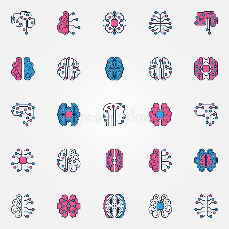 Os ícones coloridos cérebro de Digitas ajustam-se - vector sinais espertos do cérebro do AI ilustração stock
